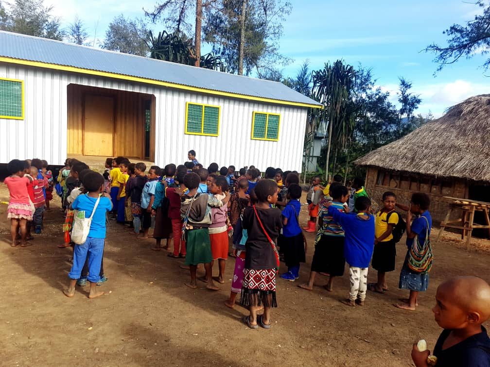 Newly build elementary classroom by Wapco Builders at Enga Province