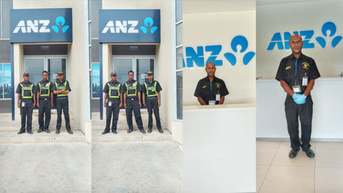 Wapco Security guards on duty - ANZ Bank Front Counter