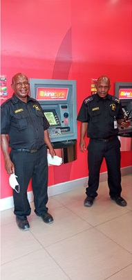 Wapco Security guards on duty at Kina Banks ATM machines
