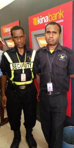 Wapco Security Guards on duty, Kina Bank ATM