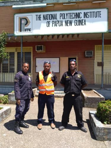 Wapco Security guards on duty, PNG National POLYTECH