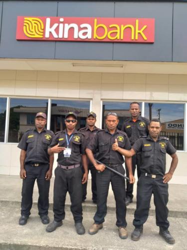 Wapco Security Guards on duty at Kina Bank