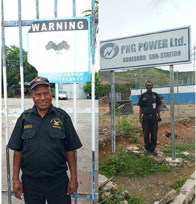 Wapco Security guards on duty at PNG Power sub-station