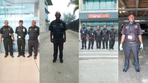 Wapco Security guards on duty at Kina Bank Port Moresby